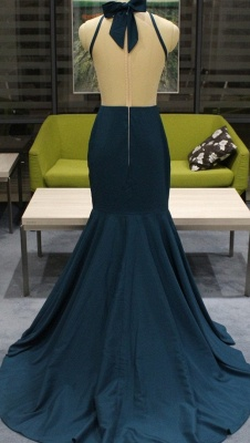 Beads Appliques Sexy Mermaid Prom Dresses Cheap | Sleeveless Sheer Back Cheap Evening Gowns with Bowknot_3