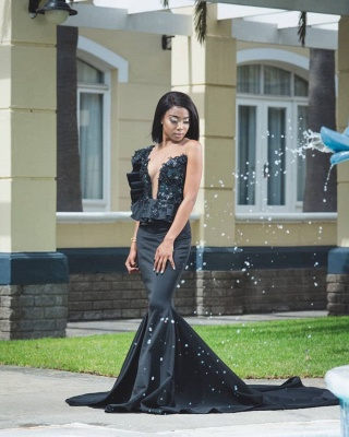 Appliques Black Prom Dresses with Court Train | Mermaid Sexy Sheer Tulle Cheap Evening Gowns_2