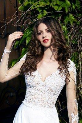 Beliebteste Spitze Chiffon Brautkleid Applikationen Seitenschlitz Langarm Sweep Zug Brautkleid_4