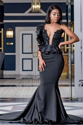 Appliques Black Prom Dresses with Court Train | Mermaid Sexy Sheer Tulle Cheap Evening Gowns