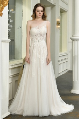 Elegant One Shoulder A-line Wedding Dress Lace Appliques