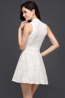 Mini vestidos en existencia lindos de noche de una línea Vestidos de fiesta cortos de cuello alto_3