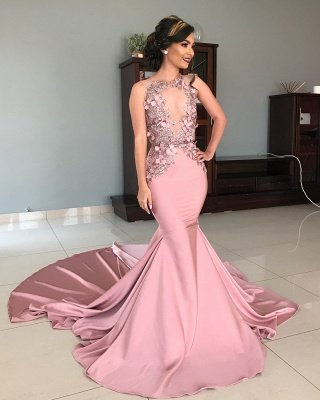Sheer Tulle Pink Lace Appliques Prom Dresses | Mermaid Sleeveless Sexy Evening Gowns with Court Train_3