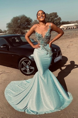 Sparkling Mermaid Mint Prom Dresses Cheap for Juniors | Sleeveless Beads Appliques Sexy Evening Gowns