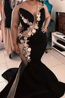 Sexy Sheer Tulle Plus Size Prom Dresses with Flowers | Mermaid Sleeveless Cheap Black Evening Gowns