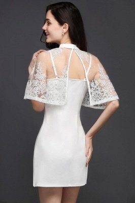 White Two-Piece High-Neck Cute Short Evening Dresses_3