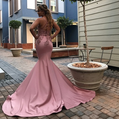 Spaghetti Straps Mermaid Pink Prom Dresses Cheap | Beads Appliques Open Back Sexy Evening Gowns_2