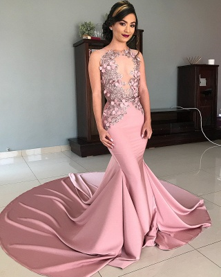 Sheer Tulle Pink Lace Appliques Prom Dresses | Mermaid Sleeveless Sexy Evening Gowns with Court Train_2