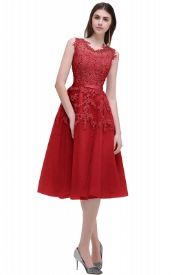 Tea-Length A-line Sheer-Neck Amazing Lace-Appliques Beaded Party Dresses_2