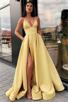 Spaghetti Straps Sexy Side Slit Formal Dresses Cheap | Sleeveless Open Back Long Evening Gowns_5