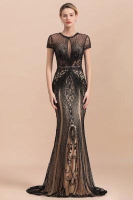 Encantador rebordear sirena delgada vestido de fiesta vestido de noche de manga corta_2