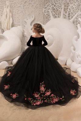 Off-the-Shoulder Velvet Floor Length Flower Girl Dresses|A Line Little Girl Pageant Dresses With Flowers_2