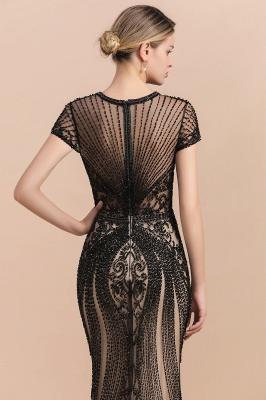 Encantador rebordear sirena delgada vestido de fiesta vestido de noche de manga corta_8