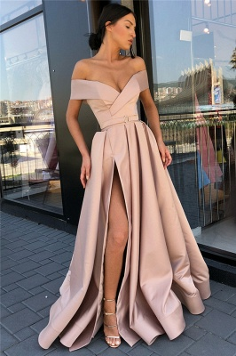 Off The Shoulder Formal Dresses Cheap | Sexy Long Evening Gowns with Side Slit_8