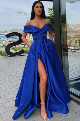 Off The Shoulder Formal Dresses Cheap | Sexy Long Evening Gowns with Side Slit_3