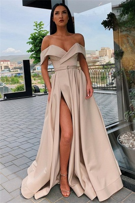 Off The Shoulder Formal Dresses Cheap | Sexy Long Evening Gowns with Side Slit_5