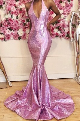 Candy Pink Sequins Mermaid Prom Dresses Cheap Online | V-neck Sleeveless Sexy Long Formal Evening Gowns_1