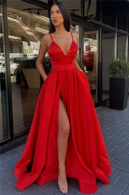 Spaghetti Straps Sexy Side Slit Formal Dresses Cheap | Sleeveless Open Back Long Evening Gowns_3