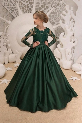 Satin Dark Green Jewel Lace Flower Girl Dresses With Bow| Long Sleeves Floor Length Girl Party Dresses