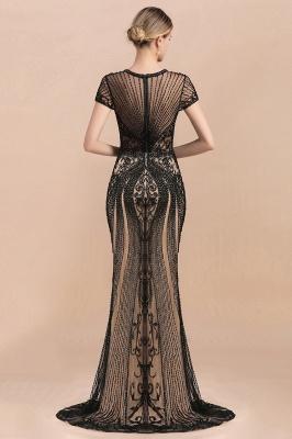 Encantador rebordear sirena delgada vestido de fiesta vestido de noche de manga corta_7