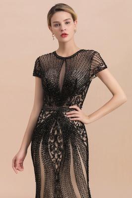 Encantador rebordear sirena delgada vestido de fiesta vestido de noche de manga corta_6