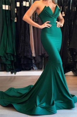 Designer Green Mermaid Evening Dress Long Party Gowns On Sale BA7134_2