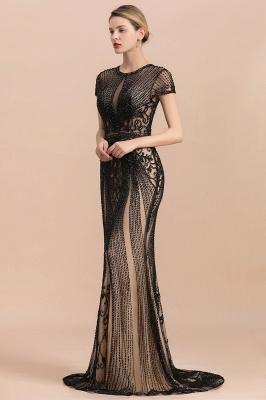 Encantador rebordear sirena delgada vestido de fiesta vestido de noche de manga corta_3