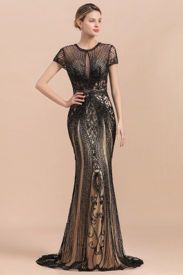 Encantador rebordear sirena delgada vestido de fiesta vestido de noche de manga corta_5