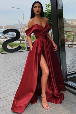 Off The Shoulder Formal Dresses Cheap | Sexy Long Evening Gowns with Side Slit_4