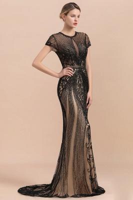Encantador rebordear sirena delgada vestido de fiesta vestido de noche de manga corta_4