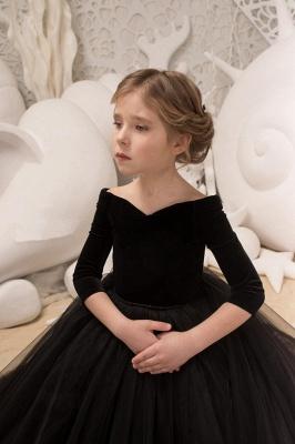 Off-the-Shoulder Velvet Floor Length Flower Girl Dresses|A Line Little Girl Pageant Dresses With Flowers_3