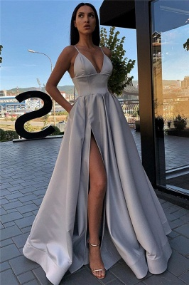 Spaghetti Straps Sexy Side Slit Formal Dresses Cheap | Sleeveless Open Back Long Evening Gowns_9