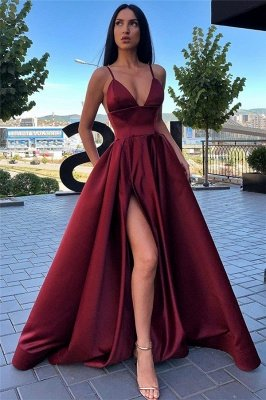 Spaghetti Straps Sexy Side Slit Formal Dresses Cheap | Sleeveless Open Back Long Evening Gowns
