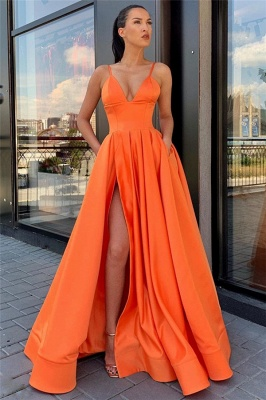 Spaghetti Straps Sexy Side Slit Formal Dresses Cheap | Sleeveless Open Back Long Evening Gowns_7