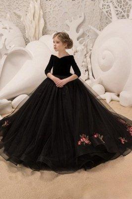 Off-the-Shoulder Velvet Floor Length Flower Girl Dresses|A Line Little Girl Pageant Dresses With Flowers
