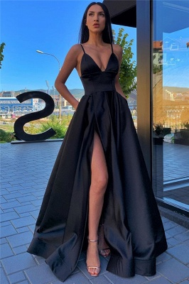 Spaghetti Straps Sexy Side Slit Formal Dresses Cheap | Sleeveless Open Back Long Evening Gowns_6
