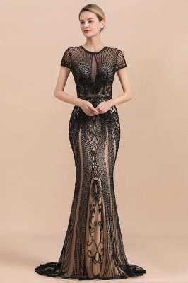 Charming Beading Slim mermaid Prom Dress Evening Short Sleeve Dress