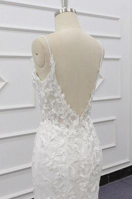 Spaghetti Strap Appliques Mermaid Wedding Dress_8