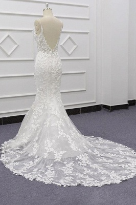 Spaghetti Strap Appliques Mermaid Wedding Dress_5