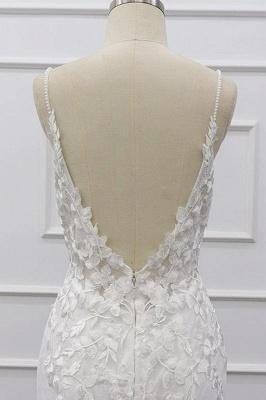 Spaghetti Strap Appliques Mermaid Wedding Dress_9