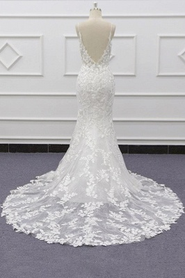 Spaghetti Strap Appliques Mermaid Wedding Dress_3