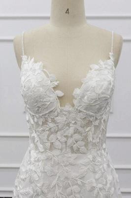 Spaghetti Strap Appliques Mermaid Wedding Dress_6