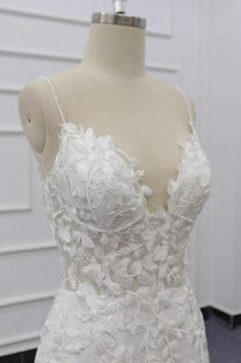 Spaghetti Strap Appliques Mermaid Wedding Dress_7