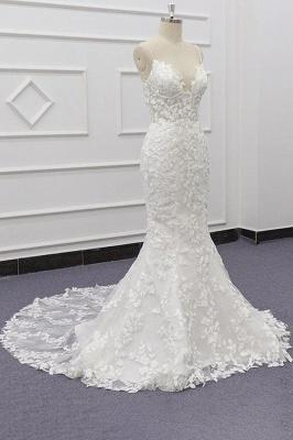 Spaghetti Strap Appliques Mermaid Wedding Dress_4