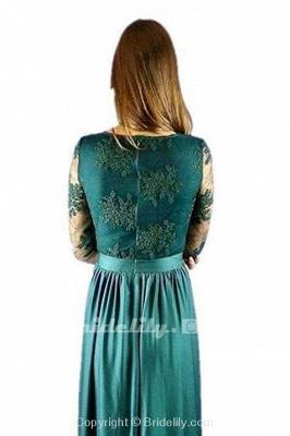 Royal Blue V Neck Long Sleeve Prom Floor Length Split Evening Dress with Lace_2