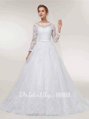Stunning White Floral Lace Appliques Long Sleeves Aline Wedding Gown_3