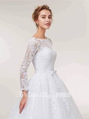 Stunning White Floral Lace Appliques Long Sleeves Aline Wedding Gown_5