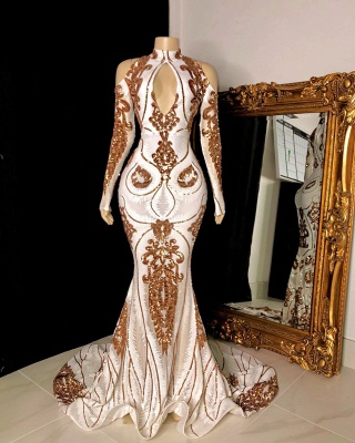 Gorgeous Beading Sequins Keyhole Neckline Long Sleeves Mermaid Formal Gowns_2