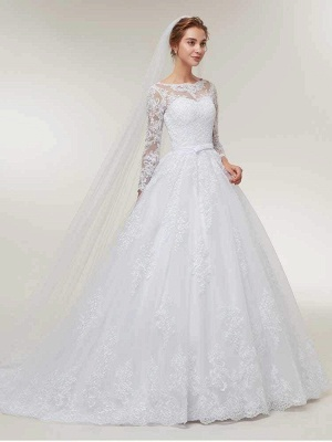 Stunning White Floral Lace Appliques Long Sleeves Aline Wedding Gown_1