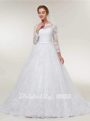 Stunning White Floral Lace Appliques Long Sleeves Aline Wedding Gown_2